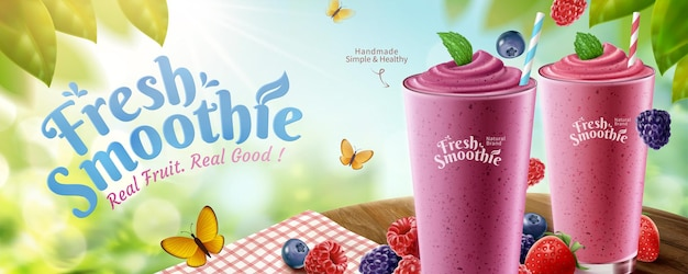 Fresh mix berries smoothie banner ads with delicious fruit on wooden round table