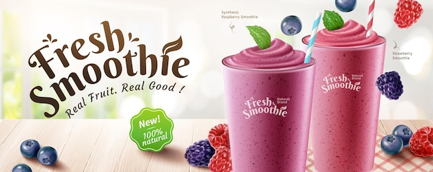 Fresh mix berries smoothie banner ads with delicious fruit on wooden table and bokeh background