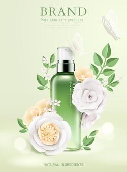 3dイラストの紙の花と新鮮な水分スプレー広告