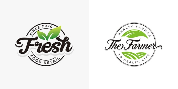 Fresh natural food logo collections template
