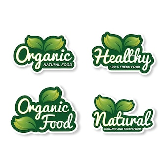Fresh natural food product badge collection
