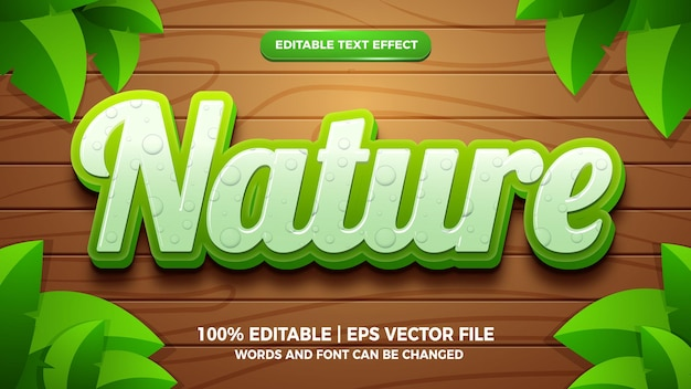 Fresh nature editable text effect 3d template style