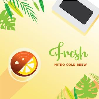 Fresh nitro cold brew with lemon on top background Premium Vector