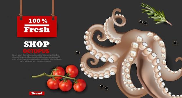 Fresh octopus sea food banner
