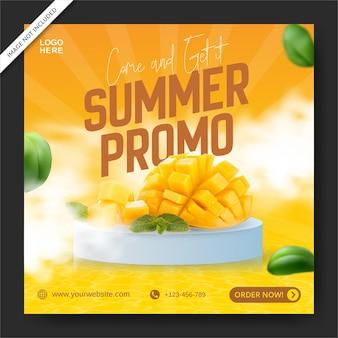 여름 프로모션을 위한 신선한 오렌지 전단지 또는 소셜 미디어 배너
