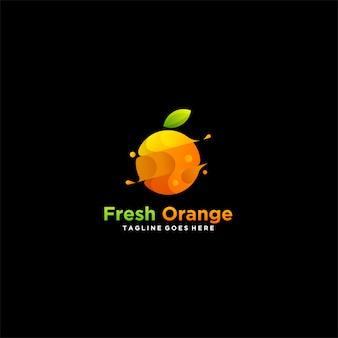 Свежий оранжевый фрукт значок логотип.