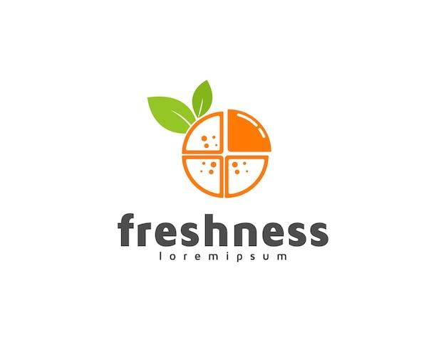 Fresh orange fruit logo illustration with leaves