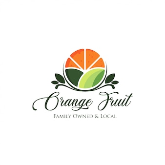 Fresh orange fruit logo