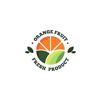 신선한 오렌지 과일 로고
