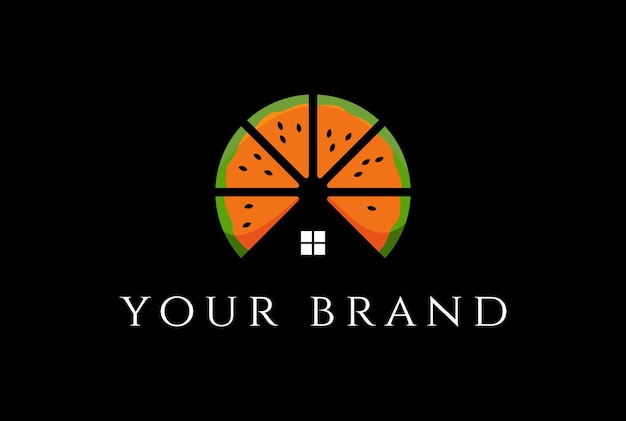 Fresh orange fruit with house for real estate or cabin chalet logo design vector
