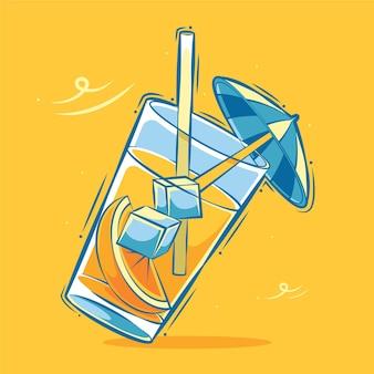 ガラス漫画イラストの新鮮なオレンジ色の氷