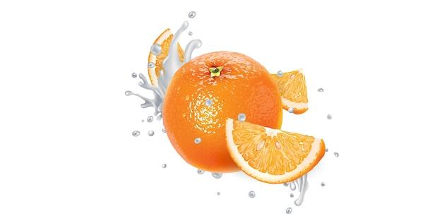 Свежий апельсин в брызгах йогурта на белом фоне. реалистичная иллюстрация.