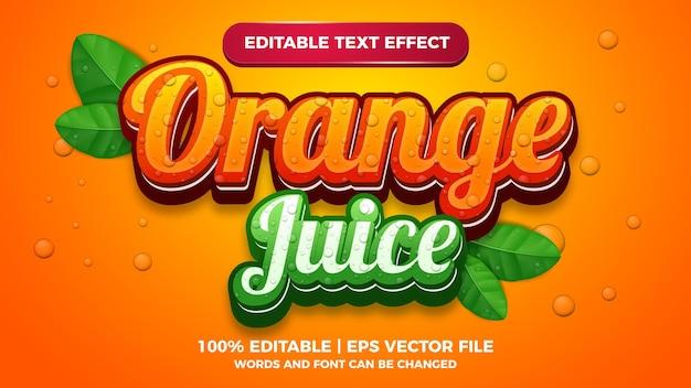 Редактируемый текстовый эффект свежего апельсинового сока