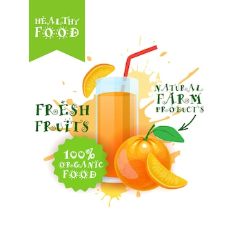 Fresh orange juice logo natural food farm products label over paint splash