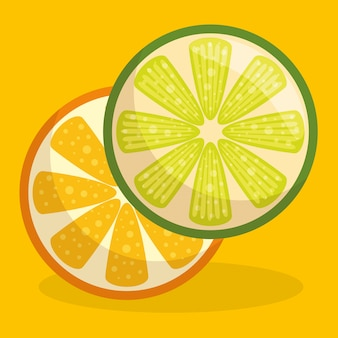 Fresh orange and lemon fruit healthy food