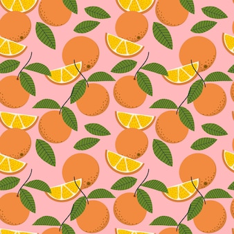 Fresh oranges and leaves seamless pattern