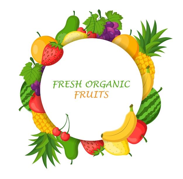 Тематическая рамка из свежих органических фруктов