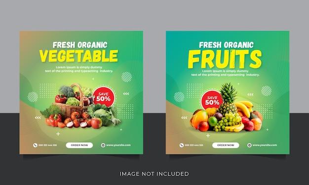 Шаблон сообщения в социальных сетях instagram с доставкой свежих органических фруктов и овощей