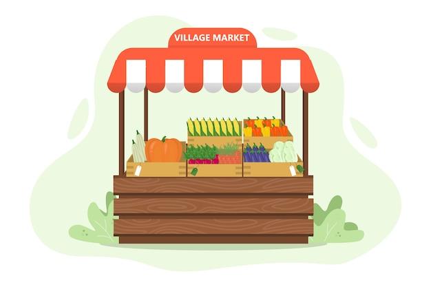 農場からの新鮮な有機収穫。野菜市場のコンセプト