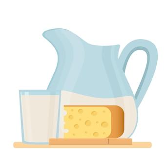 チーズとミルクを水差しにセットした新鮮な有機乳製品。農場の新鮮な製品。分離されたベクトルイラスト、シンボル、オブジェクト、ステッカー、メニュー、ポスター、ラベル、パッケージのデザイン要素。