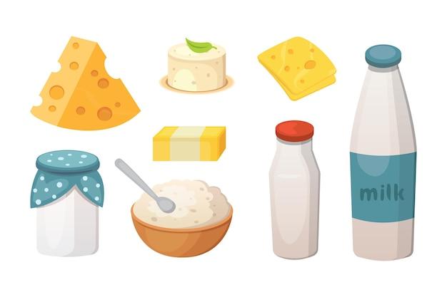 Набор свежих органических молочных продуктов с сыром, маслом, сметаной.
