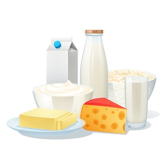 Fresh organic milk products set with cheese and butter