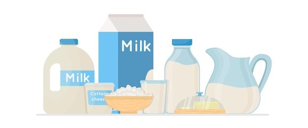 코티지 치즈와 버터 벡터 삽화가 있는 신선한 유기농 우유 제품. 농장 신선한 제품입니다.