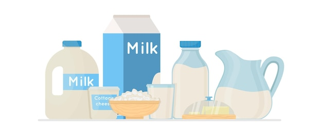 Fresh organic milk products set with cottage cheese and butter vector illustration. farm fresh product.