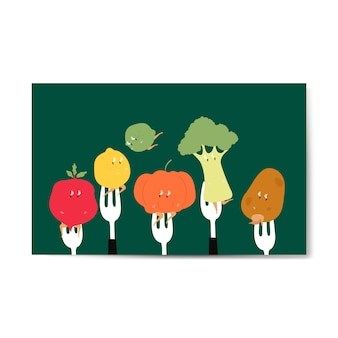 Fresh organic vegetable cartoons on forks