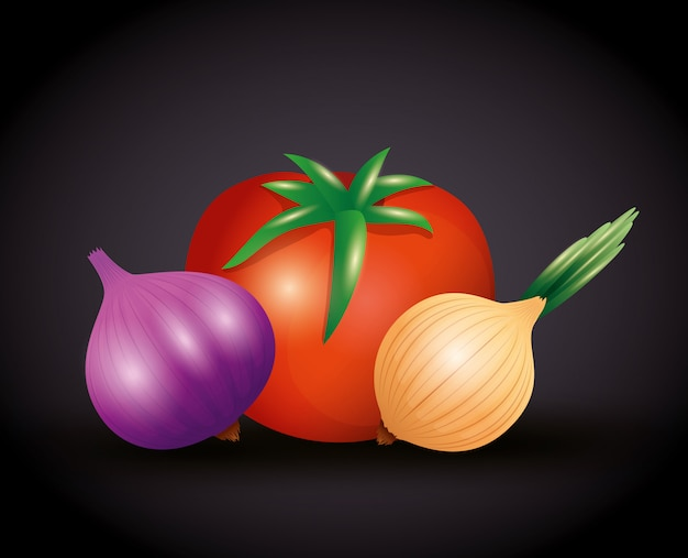 Fresh organic vegetables, healthy food, healthy lifestyle or diet on black background