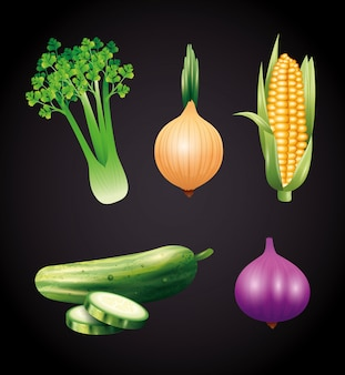新鮮な有機野菜、健康食品、健康的なライフスタイルまたは黒い背景に食事療法