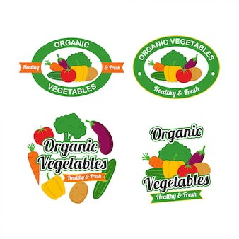Fresh organic vegetables logo design vector