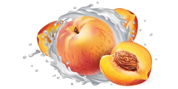 新鮮な桃とヨーグルトまたは牛乳が白い背景に飛び散る。リアルなイラスト。