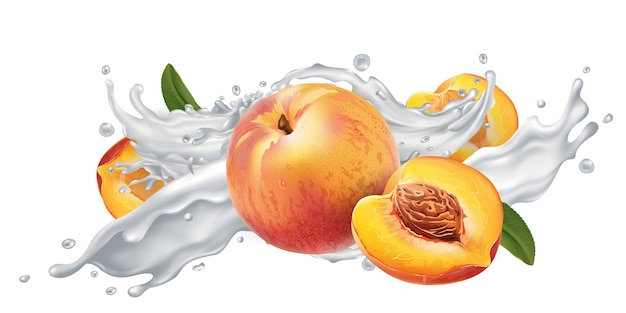 Свежие персики в брызгах молока или йогурта на белом фоне.