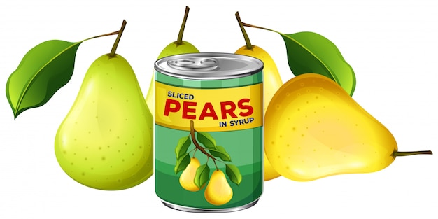 Fresh pear and in can