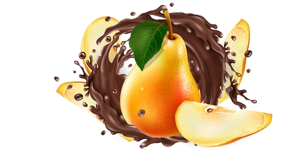 新鮮な梨と白い背景の上の液体チョコレートのスプラッシュ。リアルなイラスト。