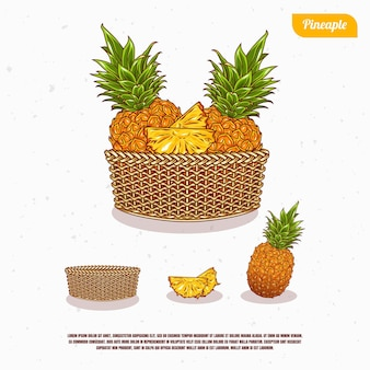 Fresh pineapple in the bucket illustration design