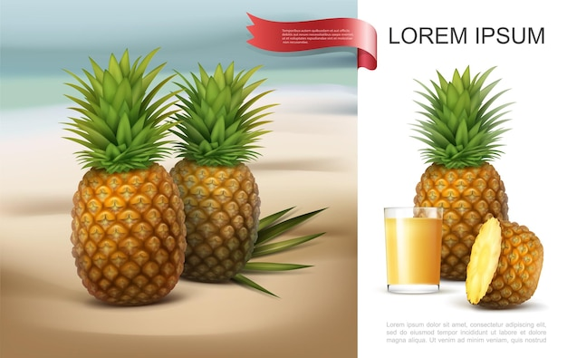 Fresh pineapples on tropical beach concept with glass of natural juice whole and half of healthy fruit in realistic style isolated