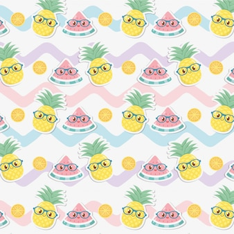 Fresh pineapples and watermelons fruits kawaii characters pattern