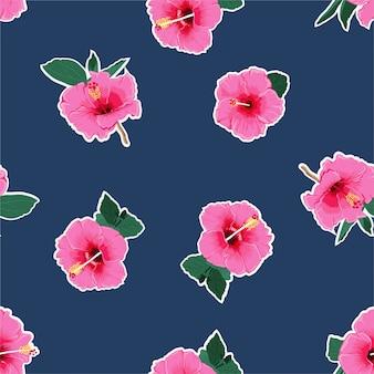 Fresh pink hibiscus flower ,hawaiian tropical natural floral seamless pattern
