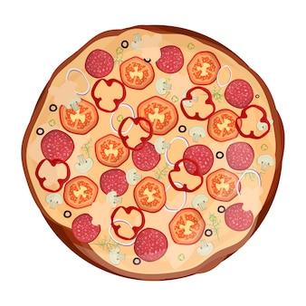 トマト、チーズ、オリーブ、ソーセージ、玉ねぎのフレッシュピザ。伝統的なイタリアのファーストフード。トップビューの食事。ヨーロッパのスナック。孤立した白い背景。