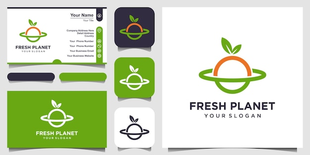 Fresh planet with line art style logo and business card design