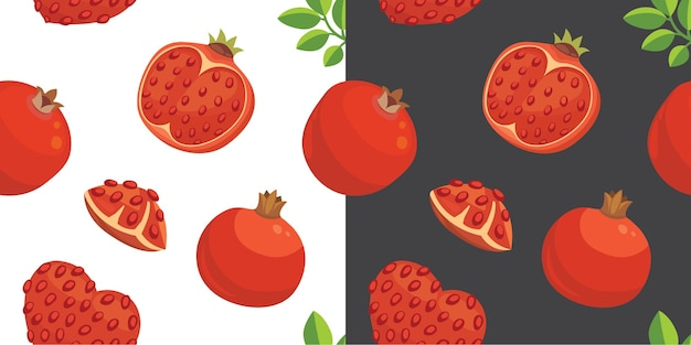Fresh pomegranates hand drawn background. doodle wallpaper . colorful seamless pattern