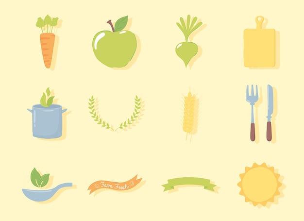 신선한 농산물 아이콘 세트