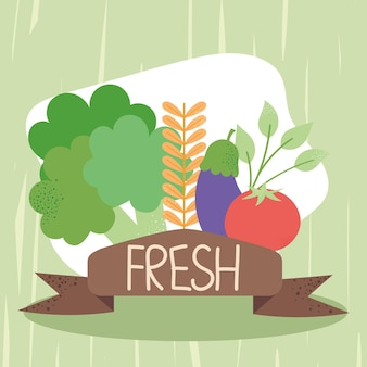 Fresh produce and ribbon