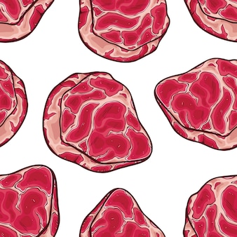 Fresh raw meat in seamless pattern with colored sketch style