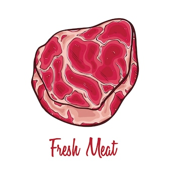 Fresh raw meat with text and colored hand drawn or doodle art on white background