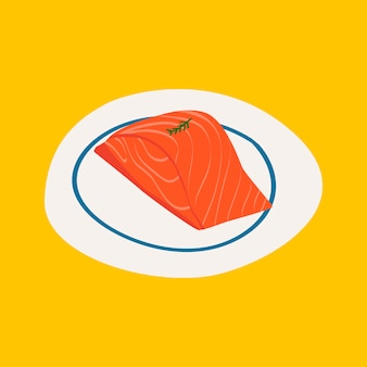 Fresh raw salmon healthy ingredient vector