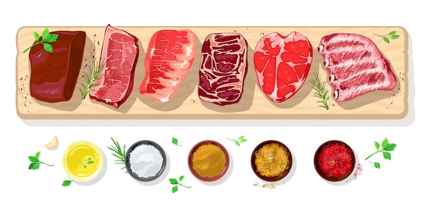 Fresh raw steaks icons