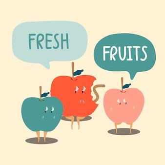 新鮮な赤と緑のリンゴ漫画の文字ベクトル